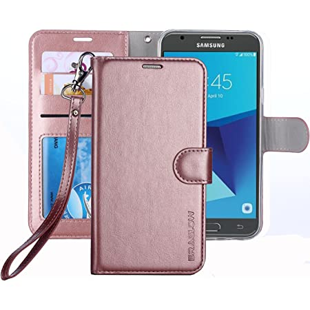Soft Tactile Elegant Case Cover with Embedded Magnetic Closure for Galaxy J7 Prime//On 7- Blue Art Galaxy J7 Prime//On 7 Case Casake Galaxy J7 Prime//On 7 Wallet Leather Case,