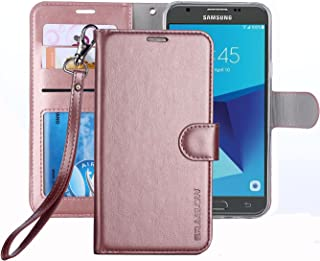 ERAGLOW Galaxy J7 V 2017 / J7 Perx / J7 Sky Pro / J7 Prime/Galaxy Halo Case Luxury PU Leather Wallet Flip Protective Case Cover with Card Slots and Stand for Samsung Galaxy J7 2017 (Rose Gold)