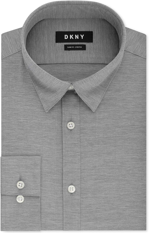 DKNY Mens Active Stretch Button Up Dress Shirt, Grey, 15.5