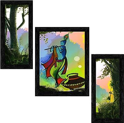 Indianara Set of 3 Krishna Framed Art Painting (3099BK) without glass 6 X 13, 10.2 X 13, 6 X 13 INCH