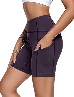 QUEENIEKE Short de sport pour femme avec entrejambe 15,2 cm Taille moyenne 3 poches pour le yoga, la course à pied, le con...