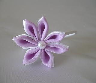 Elastico con decoro floreale Kanzashi bianco e lilla