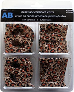 Glitter Chipboard Letter Stickers-Leopard Natural Amanda Blu Scrapbooking