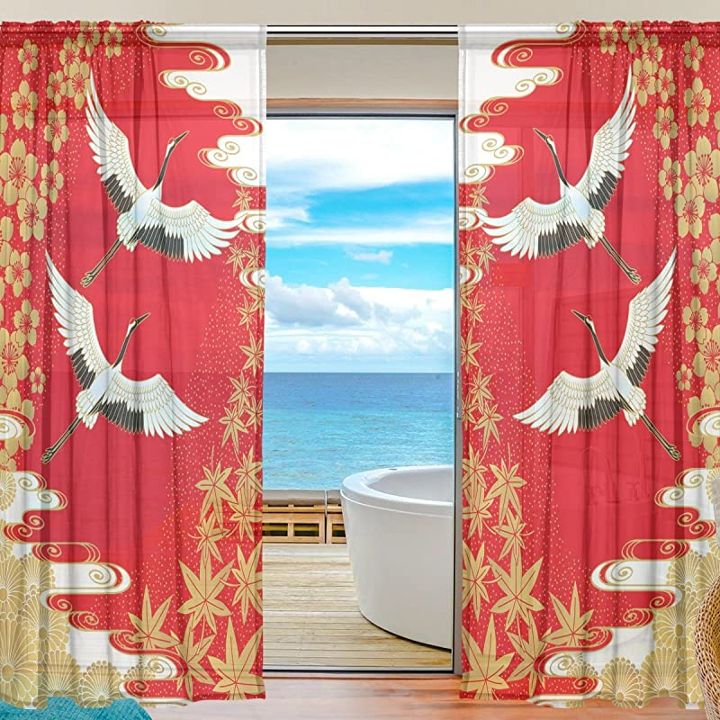 SEULIFE Window Sheer Curtain Japan Japanese Cranes Flower Cherry Voile Curtain Drapes For Door Kitchen Living Room Bedroom 55x78 Inches 2 Panels
