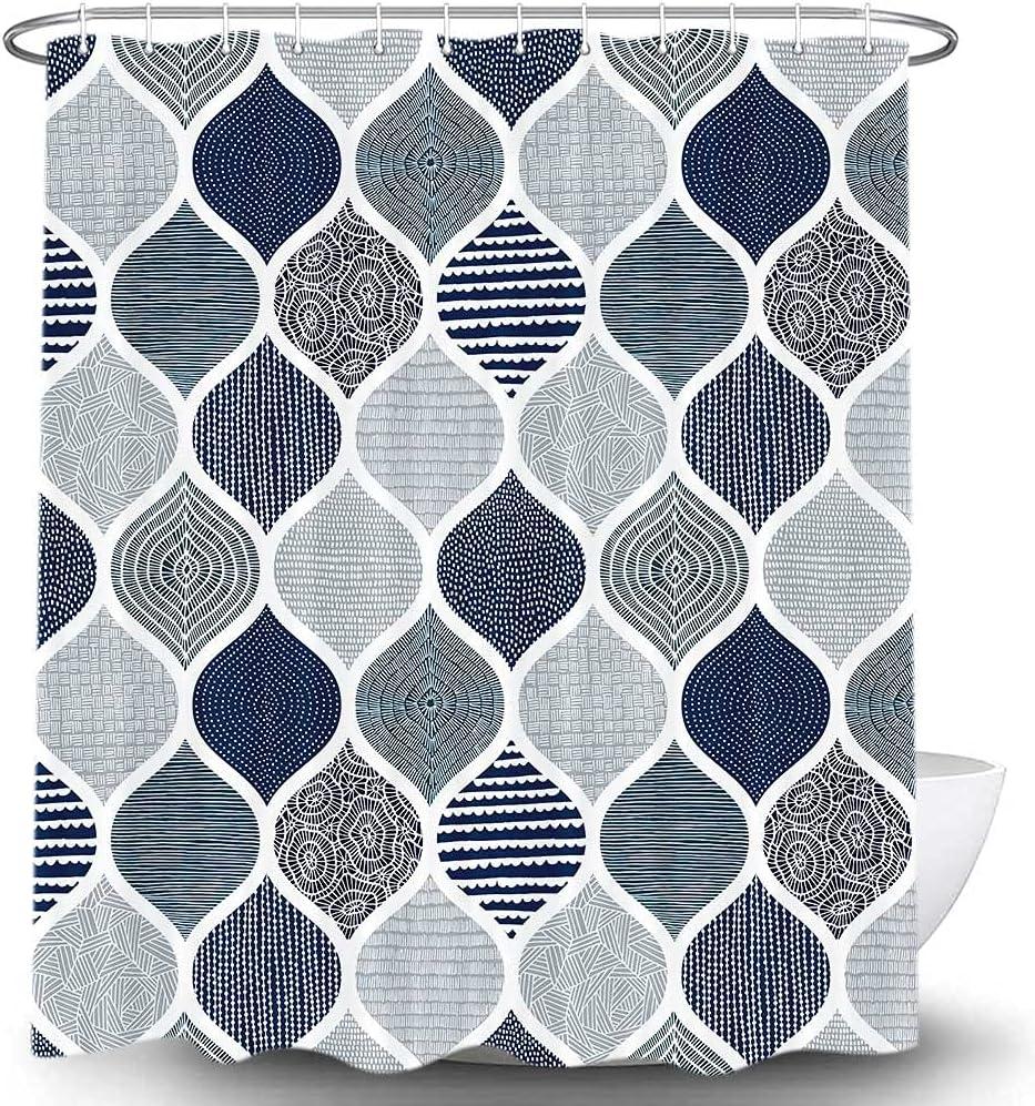 Boho Blue and Grey Shower 5 ☆ popular Curtain 100% quality warranty! Dark Bathroom Navy for G
