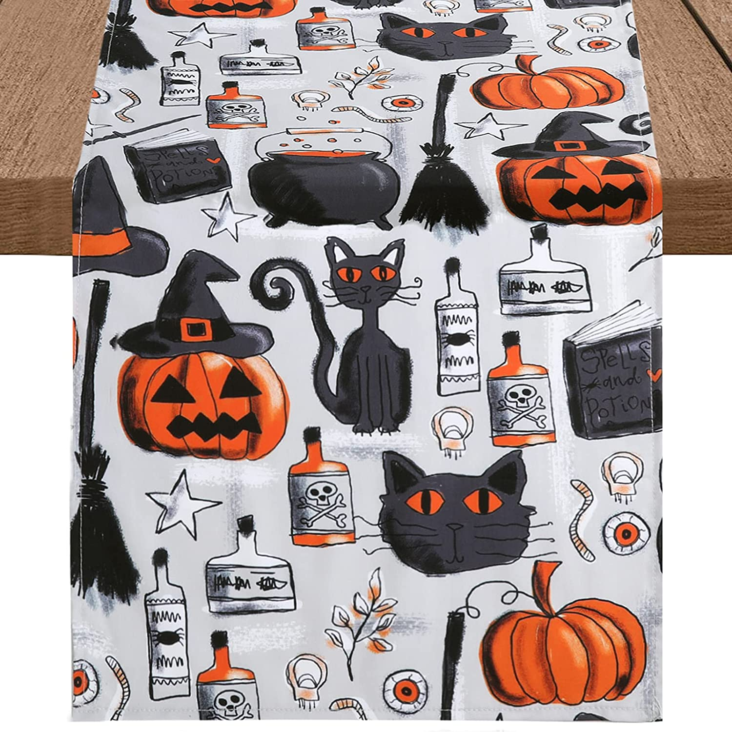B-COOL Halloween Table Runners 70% OFF Outlet 13 by Branded goods Resistant Inch Tab 84 Stain