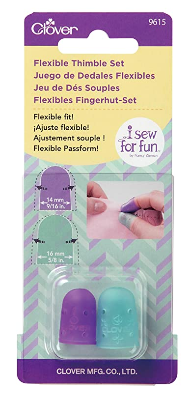 Clover 9615 I Sew for Fun Flexible Set Thimble, Purple and Blue 2 jsnl634029938348