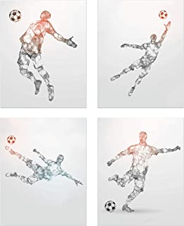 Summit Designs Soccer Geometric Wall Art Prints - Particle Silhouette – Set of 4 (8x10) Poster Photos - Man Cave- Bedroom Decor