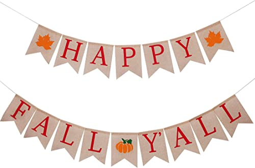 lowest yosager wholesale 2 Pcs Happy Fall Y'all Banner Maple outlet sale Pumpkin Burlap, Thanksgiving Fall Rustic Harvest Home Décor, Bunting Flag Garland Banner Set for Fall Harvest Thanksgiving Decorations online