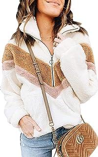 ECOWISH Women Long Sleeve Half Zipper Sherpa Sweatshirt Fuzzy Fleece Pullover Soft Jacket Outwear Coat