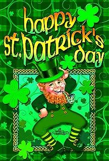 Toland Home Garden Happy Leprechaun 28 x 40 Inch Decorative St Patrick's Day Shamrock Clover Double Sided House Flag