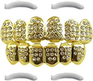 Diamond Joker Grillz 24K Plated Gold for Mouth Top Bottom Hip Hop Teeth Grills for Teeth Mouth + 2 Extra Molding Bars + Microfiber Cloth CZ Diamonds | Halloween Costume