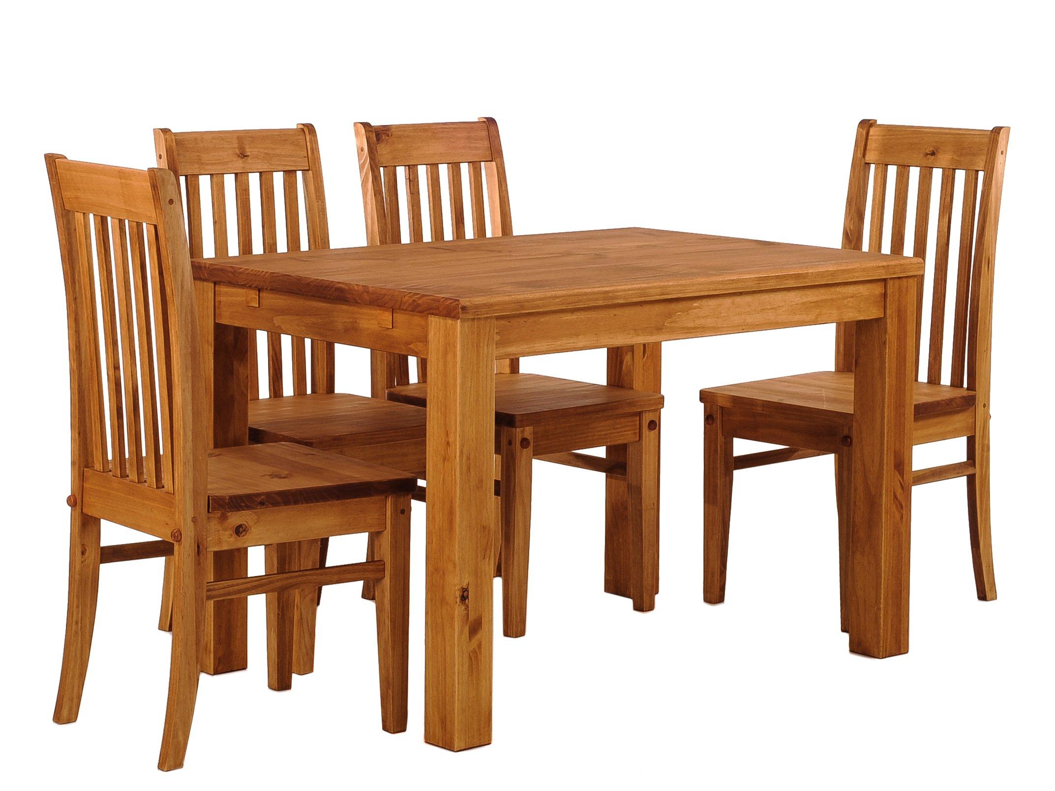 Juego de mesa de comedor para cuatro mesas, de madera maciza de miel, extensiones opcionales extensibles de pino de Río con 4 sillas: Amazon.es: Juguetes y juegos