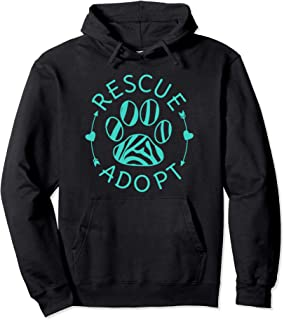 Rescue Adopt Animal Lover Love Cats Dogs Paw Print Hoodie