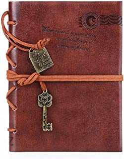 Leather Writing Journal Notebook, EvZ Classic Key Bound Retro Vintage Notebook Diary Sketchbook Gifts with Unlined Travel Journals to Write in for Girls and Boys Notepad Guest Book, Dark Coffee