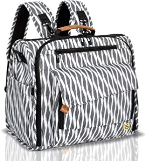 ALLCAMP Zebra Diaper Bag Large, Support Baby Stroller, Converted Into a Tote Bag, Black and White
