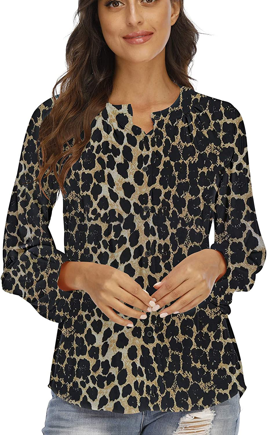 Miqieer Women's Casual Collared Button Down Shirt Flowy Blouse Puff Long Sleeve Stylish Tops