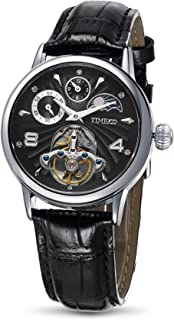 Time100 Mens Wrist Watches Sun&Moon Phase Taichi Pattern Leather Strap Skeleton Mechanical Watch