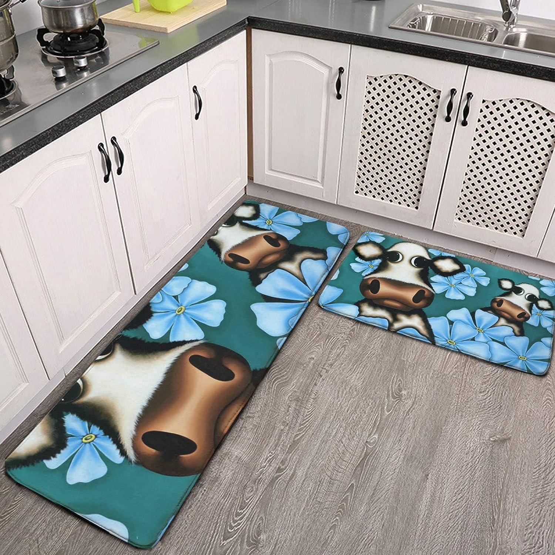 2 Pcs Kitchen Rug trust Happy CowSet Soft W Floor Non-Slip Max 62% OFF Flanne Mats