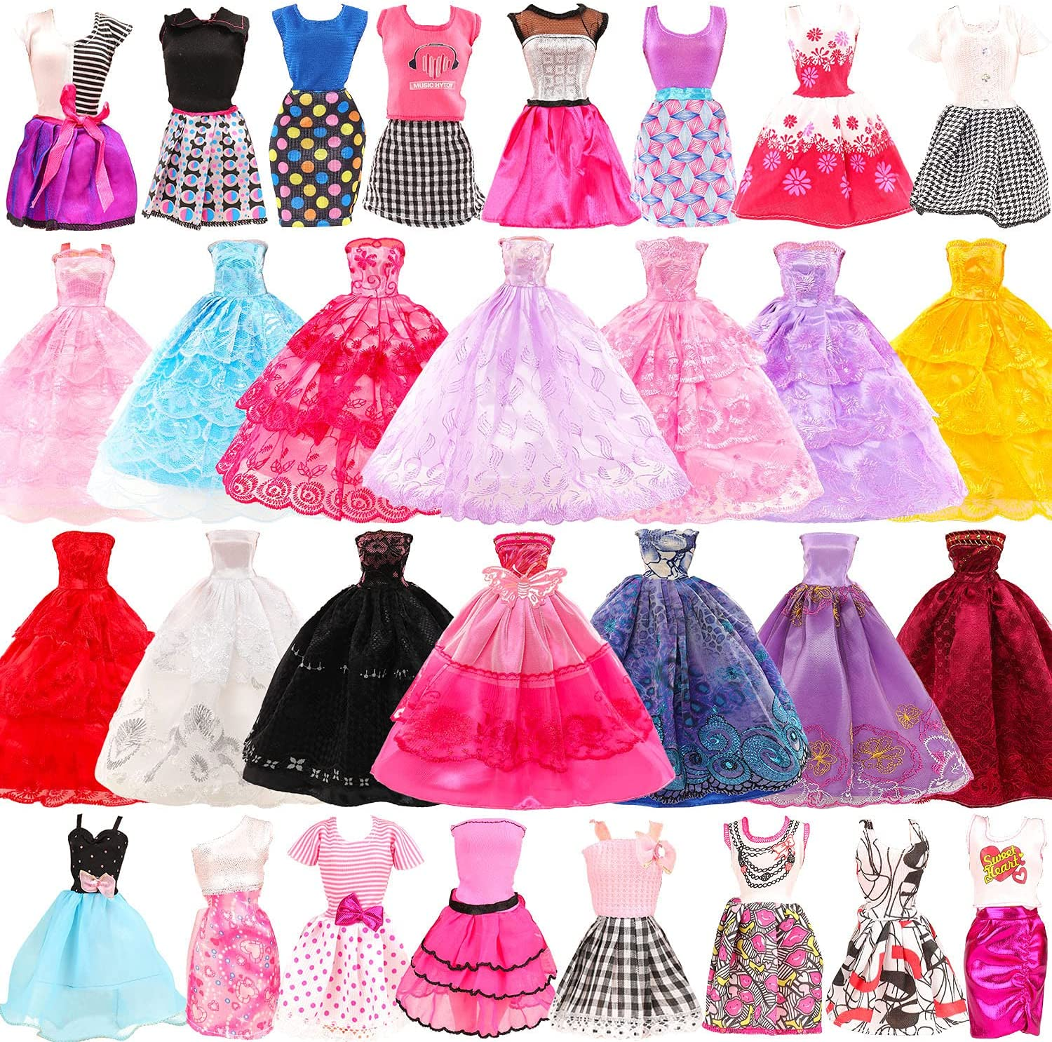 Same day shipping Funlight 10 Set Doll outlet Clothes 5 Clothe Wedding Party Gown Dresses