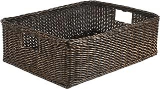 The Basket Lady Under The Bed/Basic Wicker Storage Basket, XL, 26 in L x 19.5 in W x 8 in H, Antique Walnut Brown