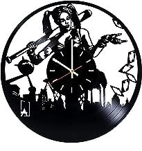Harley Quinn DC Vinyl Record Wall Clock - Living Room or Nursery Room Wall Decor - Gift Ideas for Teens, Friends - Comics Unique Art Design