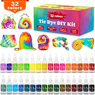 Tie Dye Kit, 32 Colors Shirt Dye Kit for Kids, Adults, User-Friendly, Add Water Only Indoor and Outdoor Activities Supplies DIY Dyeing Kit, All in One Creative Tie-Dye Kit Perfect for Party Group