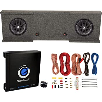 "KICKER 12"" 600W Subwoofers (2) + GMC Dual Sub Box + Car Amplifier + Wiring Kit"