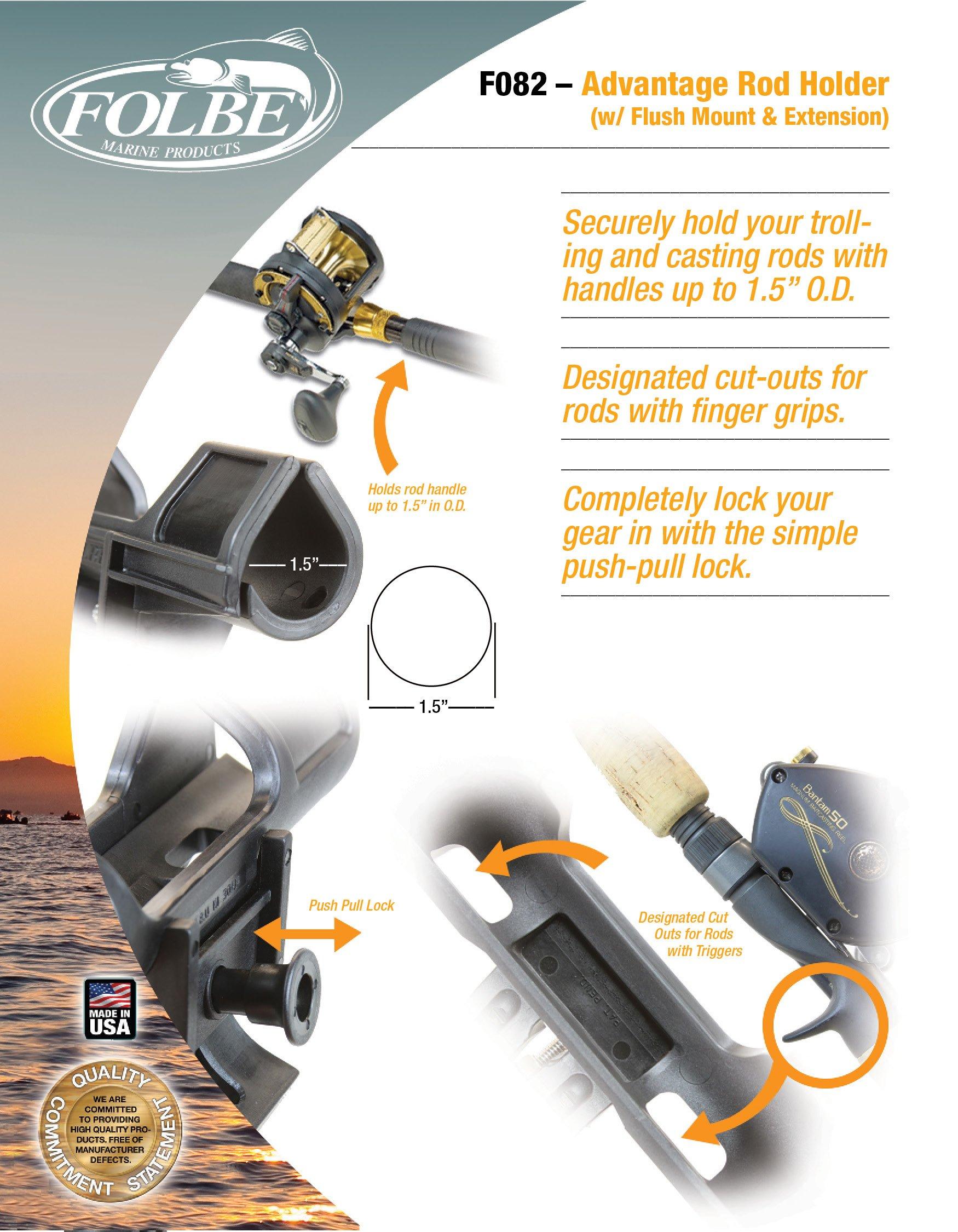 "Fits 3//4/"" - 1/"" Rails Folbe F095 Advantage Rail Mounted Fishing Rod Holder"