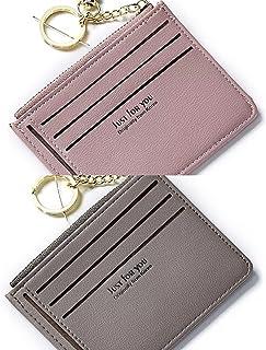 PSEEHEE Slim Minimalist Keychain Wallet Women, Small Front Pocket Wallets Credit Card Holder Case, Change Coin Purse Women...