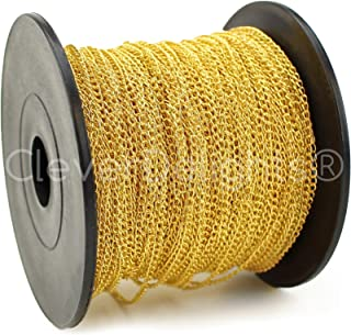 CleverDelights Curb Chain Spool - 2x3mm Link - Gold Color - 330 Feet - Bulk Jewelry Chain Roll