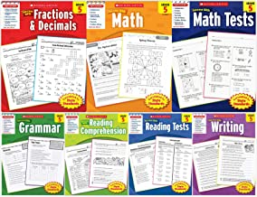 Scholastic Success With - Grade 5 Set (7 books): Fractions&Decimals 5, Math 5, Math Tests 5, Grammar 5, Reading Comprehens...