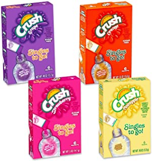 Crush Drink Mix Singles To Go Non-Carbonated, Sugar Free - 3 Boxes Of Each Flavor! (Pineapple, Grape, Strawberry, Orange)