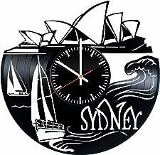 Sydney Vinyl Clock - Sydney City Skyline Australia Vinyl Records Wall Art Room Decor Handmade Decoration Party Supplies Theme - Best Original Present Gift Idea - Vintage and Modern Style