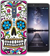 ZTE Blade X Max case - [Sugar Skull] (Crystal Clear) PaletteShield Soft Flexible TPU gel skin phone cover (fit ZTE Blade X Max/ Max 3/ Max XL/ Zmax Pro)