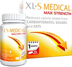 XLS-Medical Max Strength Tablets - Reduce Calorie Intake from Carbohydrates, Sugars and Fats - Pack 120 Tablets, 30 Days Treatment