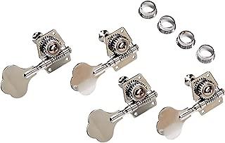 YMC Chrome-Tuning-Peg-Bass-4Cloverleaf 4 PIeces R Vintage Open Bass Tuners Machine Heads Knobs Chrome