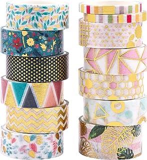 GLAITC Washi Tape,13 Rollen Washi Tape Set Dekoratives Washi Tape Goldfolie Blume Dekoratives Masking Tape Scrapbooking Ta...