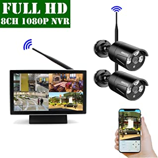 【2019 Update】 10 inch Screen HD 1080P 8-Channel Outdoor Wireless Security Camera System,2pcs 1080P Wireless IP67 Weatherproof IP Cameras,70FT Night Vision,P2P,App, NO Hard Drive