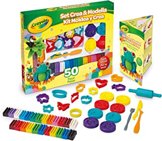 Crayola Deluxe 50 Piece Modeling Clay Art Kit Art Gift for Kids 5 & Up, Includes Non-Toxic Modeling Clay in Classic Crayola Colors, Shape Cutters, Modeling Tools, Shape Molds & Rolling Pins