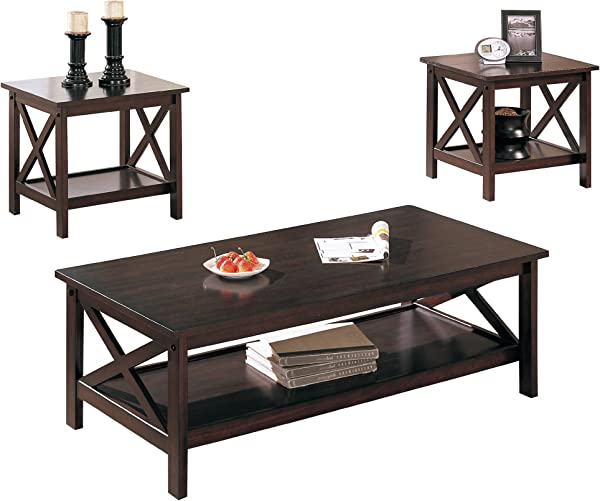Poundex 3 Piece Coffee Table Cappuccino