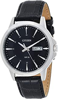 Citizen Mens Quartz Watch, Analog Display and Leather Strap BF2011-01EE