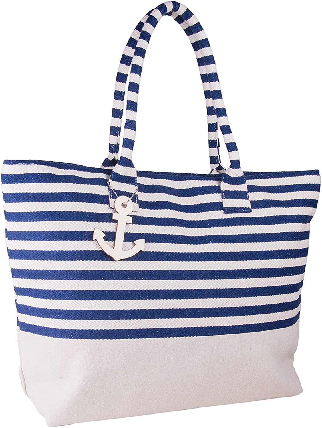 22  Large Canvas Shopping Beach Tote Bag w Zipper Closure