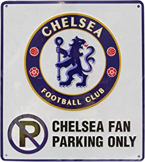 Chelsea FC Official No Parking Metal Sign (One Size) (White)