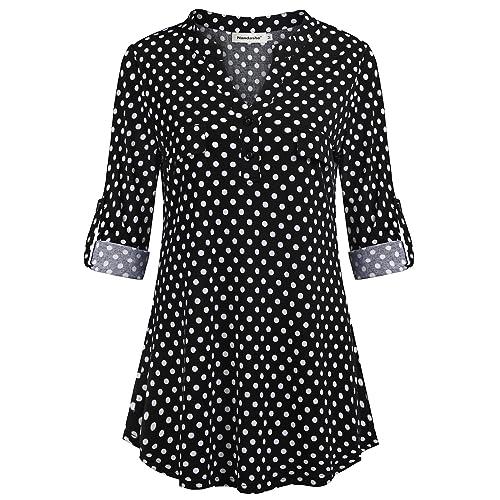 89dba24d87f Nandashe Womens 3/4 Roll Sleeve Shirt V Neck Button Down Blouse Loose Tunic  Tops