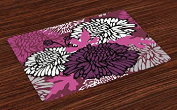 Ambesonne Dahlia Place Mats Set of 4, Drawing of Large Chrysanthemum Blossoms and Buds in Shades of Purple, Washable Fabric Placemats for Dining Room Kitchen Table Decor, Eggplant Baby Pink White