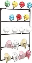 MyGift 5 Tier Brown Metal Wall Mounted Kitchen Mug Hook Display/Cup Storage Organizer Hanger Rack