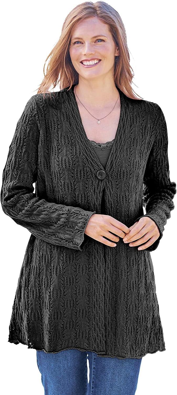 Woman Within Women's Plus Size Single Button Pointelle Cardigan Sweater