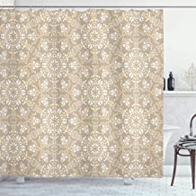 Ambesonne Mosaic Shower Curtain, Antique Roman Time Inspired Rock Design with Circled Modern Lines Image Print, Cloth Fabric Bathroom Decor Set with Hooks, 75 Long, Tan Peach