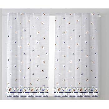 Tela Azul Cardenal Textil Mara Cortina Cocina Visillo Pack 2 100 x 140 cm